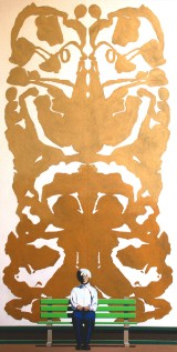 Fritz Böttger, acrylic painting,  'Andy and Rorschach-smooth 2 color gold transition'
