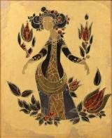 Bjørn Wiinblad. Unique gilded porcelain relief with a scene from Scheherazade