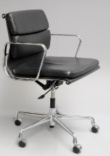 Charles Eames. Office chair, model EA-217, black leather