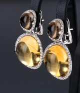 Large Italian 18 kt. white gold earrings with citrines, smoky quartz and diamonds (2)