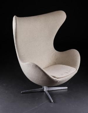 arne jacobsen sessel 39 das ei 39 mit originalem hellem wollbezug modell 3316. Black Bedroom Furniture Sets. Home Design Ideas