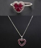 Ring samt hänge, rubiner och diamanter (2)