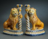 A pair of French faience candlesticks, Nevers, 18th century (2)