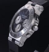 Bvlgari 'Diagono'. Men's chronograph, steel, with black dial, c. 2000