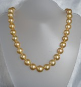South Sea pearl necklace, golden clasp