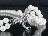 Akoya pearl necklace, 2 rows, white gold clasp