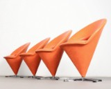 Verner Panton, set of Cone Chairs, produced by Gebr. Nehl Germany (4)