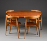Hans J. Wegner. 'Heart' table and four chairs (5)