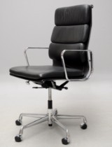 Charles Eames. Office chair, model EA-219, black leather