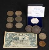 Mønter 1 speciedaler 1825, Fem kroner seddel med mere (12)