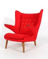 Hans J. Wegner, lounge chair, Papa Bear Chair, teak, model AP-19. New upholstery