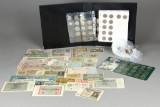 Danmark. Samling mønter, pengesedler og medaljer