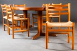 Essgruppe in Teak: Poul Volther, sechs Stühle Modell 350 in Teak für Sorø Stolefabrik dazu Esstisch in Teak (7)