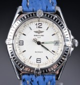 Breitling 'Wings'. Men's watch, steel with silver-coloured dial, 1990s