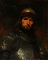 Jahn Ekenaes. Portræt af mand i ridderdragt 1875. Olie på lærred