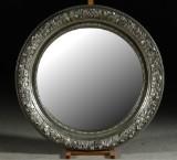 Spegel, silverfärgad ram, Ø 100 cm
