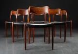 N.O.Møller. Six rosewood dining chairs, model 71 (6)