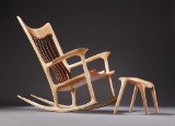 Morten Stenbæk. Rocking chair with footstool, ash, model Low Rocker (2)