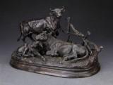 Skulptur af patineret bronze