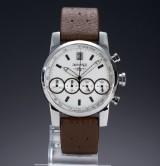 Eberhard & Co. 'Chrono 4'. Men's chronograph, steel with silver dial, 2000s