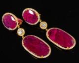 Earrings, ruby, 39.12 ct