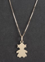 Necklace with girl motive pendant in 14k