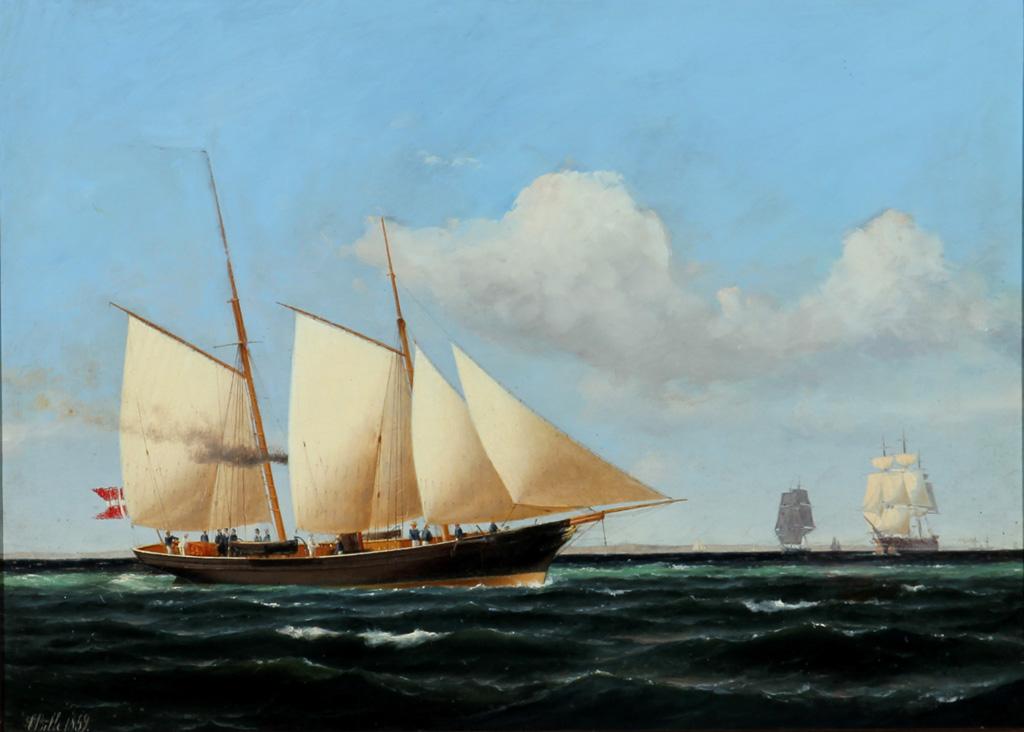 Carl Bille. Sejlskibe på sundet, 1859 - Sejlskibe på sundet af Carl Bille (1815-1898), olie på lærred, sign. C. Bille 1859. 47 x 66 cm. (61 80). Fremstår med krakelleringer, retoucheringer