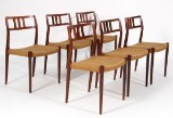 N.O. Møller. Six chairs in rosewood, Model 79 (6)
