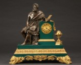 A large Louis Philippe mantel clock with Aristotle, 1830-50