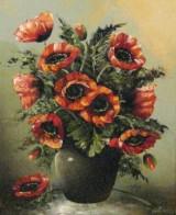 Blumenstillleben mit Mohn, Öl auf Leinwand