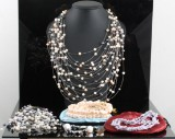 Christmas pack silver and pearl set 4 necklace`s 1 bracelet