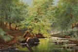 Carl O. I. Lund. Skovparti med åløb. Olie på lærred