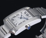 Cartier Tank Française men's watch, steel, silver-coloured dial with date,  2000's
