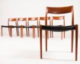 Niels O. Møller, Satz von sechs Stühlen Modell 75, schwarzes Leder für J.L. Møllers Møbelfabrik in Teak (6)