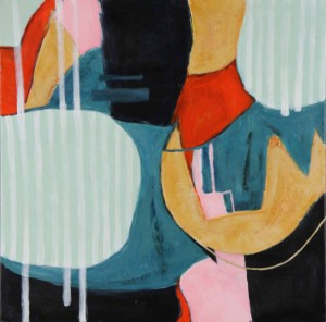 Karen Rasmussen. Abstraktion 1 - Dk, Herning, Engdahlsvej - Karen Rasmussen (f. 1948). 'Abstraktion 1', akryl på lærred, sign. og dat. KR. 2018. 80 x 80 cm UR. - Dk, Herning, Engdahlsvej