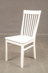 Six dining chairs, white wood (6)
