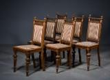 6 højryggede nyrenæssance-stole af eg, 1800-tallets slutning (6)