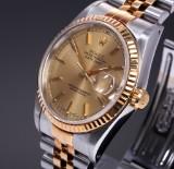 Rolex Datejust. Men's watch, 18 kt. gold and steel, 1991