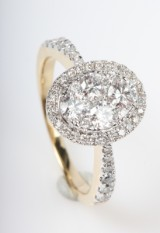 Brilliant-cut diamond ring from FHP, 14 kt gold, approx. 1.01 ct.