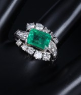 Vintage emerald and diamond ring, 18 kt. white gold, emerald, approx. 2.05 ct