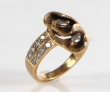 Diamantring, 14 kt guld m/ Marquise slebne diamanter/ brillanter, ca. ct.