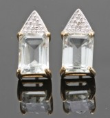 Diamond and prasiolite earrings in gold approx. 0.02ct