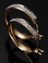 Øreringe, Creoler, 9 kt guld ca. 0,32 ct.