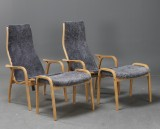 Yngve Ekström. Pair of Lamino easy chairs and stools, grey sheepskin (4)