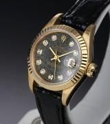 Rolex 'Datejust'. Damenuhr aus 18 kt. Gelbgold mit seltenem Steinzifferblatt mit Brillanten, ca. 1993