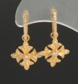 Sara Weinstock. Hoop earrings with Maltese cross pendants, brilliant-cut diamonds