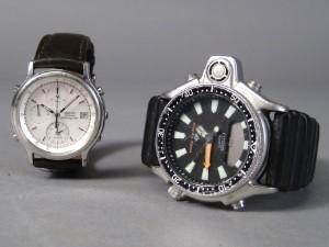 705394311ac Seiko quartz chronograph og Citizen dykkerur med dybdemåler 2