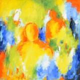 Lene Schmidt-Petersen, akryl på lærred, 'Sommerens Farver Trænger Sig Ind I Deres Bevidsthed', cd. , cd.