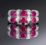 Diamant og rubinring
