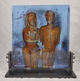Sculpture, glass, 'Adam and Eve'. Bertil Vallien for Kosta Boda